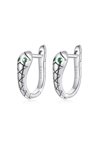 925 Signature silver 925 SIGNATURE Solid 925 Sterling Silver Cubic Zirconia Emerald Green Eyes Snake Hoop Earrings 9C91CAC312DFD8GS_1