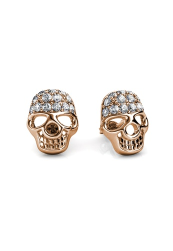 Her Jewellery white and pink and blue and multi and silver Skull Earrings (Rose Gold) - Made with premium grade crystals from Austria HE210AC0FI4ISG_1