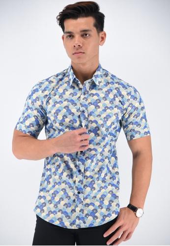 UA BOUTIQUE blue Short Sleeve Shirt Batik UASSB49-041 (Blue) CC79CAA141C150GS_1