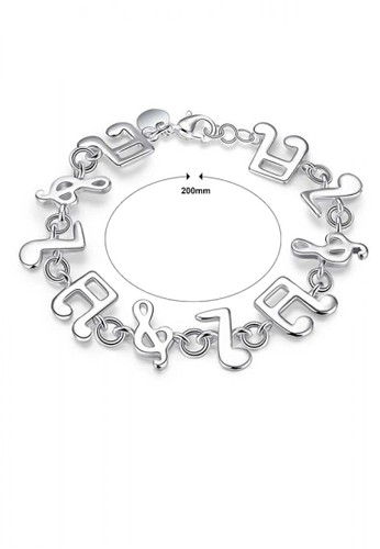 Glamorousky silver Simple and Fashion Note Bracelet AD733AC6057D90GS_1