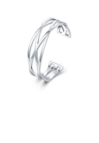 Glamorousky silver Fashion and Simple Geometric Cross Bangle 105D1ACCD90C4EGS_1