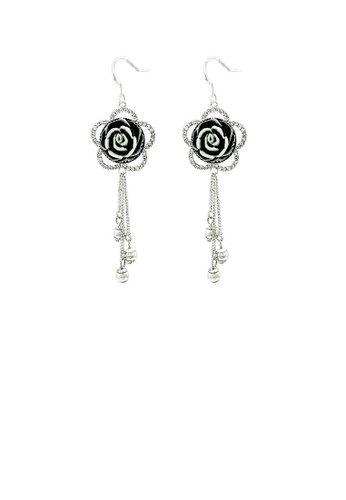 Glamorousky silver Elegant Tassel Earrings with Silver Austrian Element Crystal 59199ACC7E7456GS_1