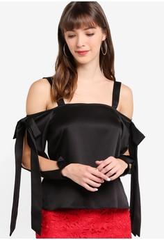 Miss Selfridge  Long Sleeve Bow Cold Shoulder Top
