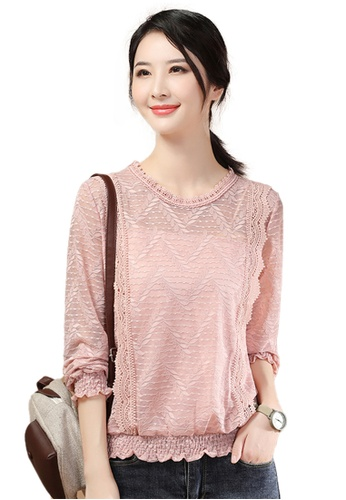 A-IN GIRLS pink Elegant Lace Cut-Out Blouse CA001AA1820648GS_1