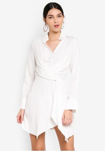 MISSGUIDED white Asymmetric Knot Front Shirt Dress 04088AA2E4A3DCGS_1
