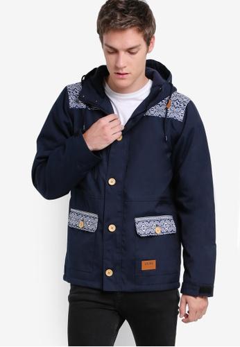 Wrung 藍色 Brixton 連帽大衣外套 WR395AA36PDBMY_1