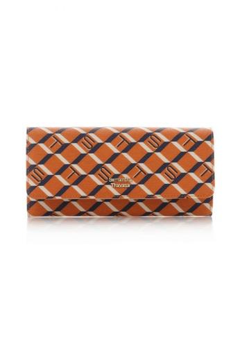 Samantha Thavasa orange and multi and beige and navy Samantha Thavasa Monogram Long Flap Wallet 5DE14AC240E990GS_1