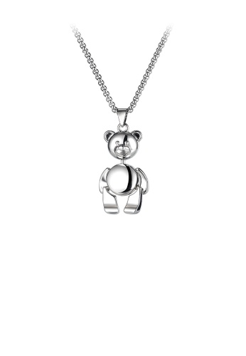 Glamorousky silver Fashion Cute Bear Pendant with 316L Stainless Steel Necklace 30BEBAC275A81DGS_1