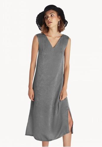 d4c1495c0c8a Buy Pomelo Midi Side Slits Loose Dress - Grey Online on ZALORA Singapore