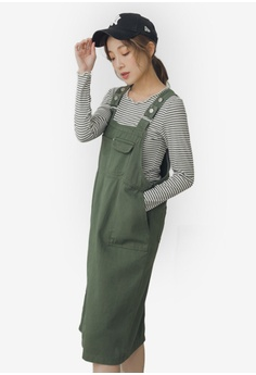 415c7e7571 Eyescream green Denim Crossback Overall Dress With Pockets  28369AA7C99BFDGS_1