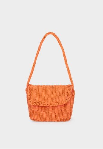 Pomelo orange Woven Foldover Crossbody Bag - Orange BE40AAC2D7CD41GS_1