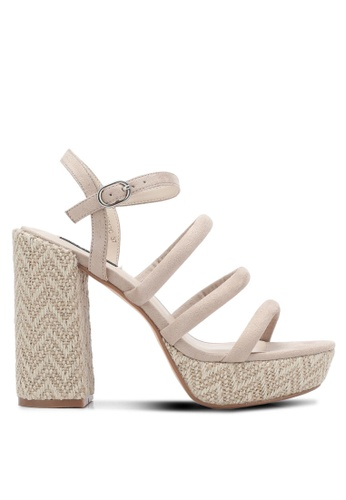 ZALORA 米褐色 繞踝繫帶粗跟涼鞋 55F64SHA1A6571GS_1