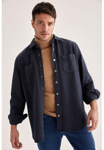 DeFacto black Man Woven Long Sleeve Shirt 9D61EAA63204C1GS_1