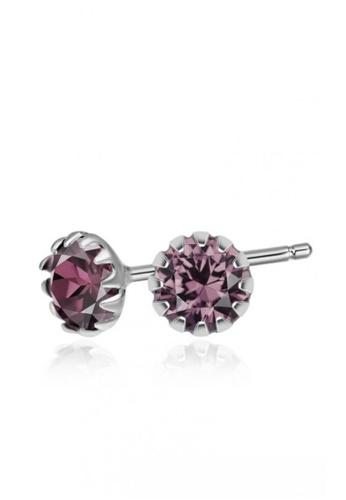 SC Tom Silver silver Crystal Round Birthstone Stud Earrings SC872AC0J6DQPH_1
