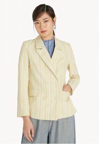Pomelo yellow Uneven Stripes Blazer - Yellow 35D37AA69368EAGS_1