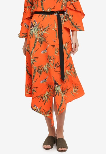 WAREHOUSE orange Songbird Midi Skirt 8AED6AAF4C0687GS_1