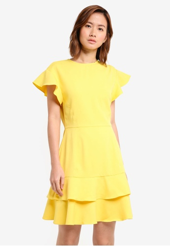 ZALORA yellow Double Layered Flute Hem Dress 5A882AAC3F0FC5GS_1