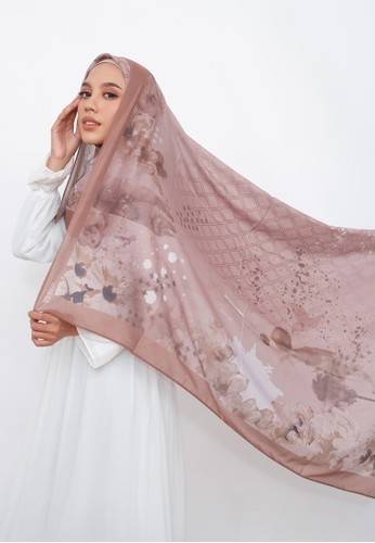 Harra Scarves white and multi and beige and brown Mother Earth Series - Falling Leaves 5C6EBAAFA1240AGS_1