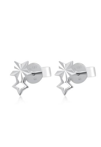 MaBelle silver 14K White Gold Double Star Stud Earrings MA584AC42IFXHK_1
