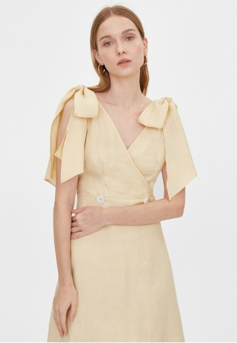 Pomelo beige Purpose Mini Double Button Tie Dress - Beige F8000AA8384379GS_1