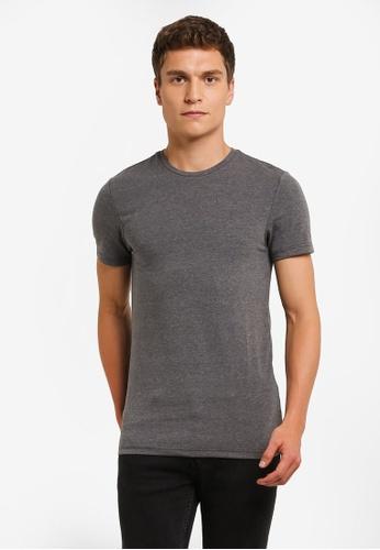 Burton Menswear London grey Charcoal Marl Muscle Fit T-Shirt BU964AA0ROAYMY_1