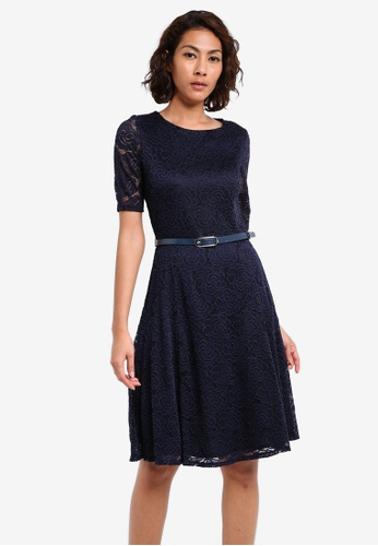 Wallis navy Navy Belted Lace Fit And Flare Dress WA800AA0SL1GMY_1