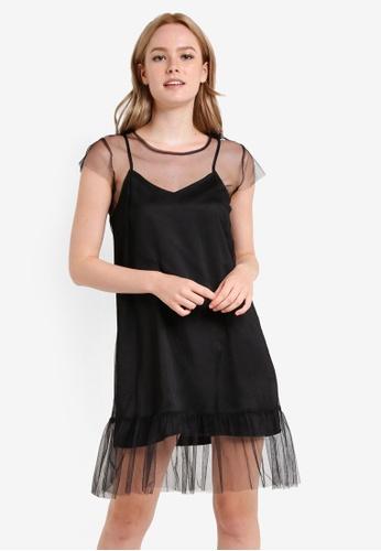 Something Borrowed black 2 In 1 Fluted Hem Mesh Dress EE013ZZ2767DCBGS_1