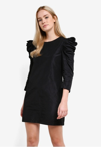 Miss Selfridge black Taffeta Puff Sleeve Shift Dress MI665AA0RF1PMY_1