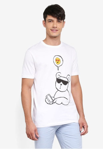 French Connection white Emoji Bear Tee 82BEDAA11974BAGS_1