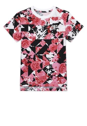 Nike red Girls' Nike Sportswear Icon Clash AOP DPTL Printed T-Shirt EEEEEKAC09984CGS_1