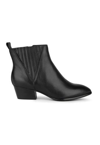 MAUD FRIZON black Calf Leather Almond Toe Cowboy Bootie With V Cut Elastic Detail 19AB9SHB3828BFGS_1