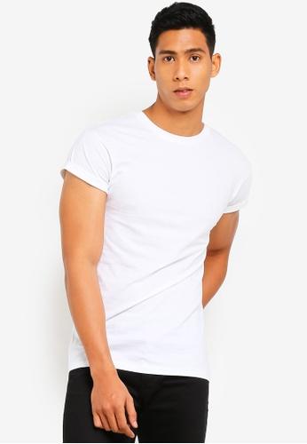 b8130d9b7a83e9 Buy Topman White Muscle Fit Roller T-Shirt Online on ZALORA Singapore