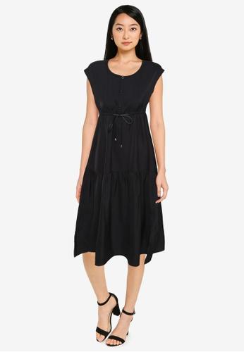 ZALORA BASICS black Cap Sleeve Tiered Dress B74EDAA20D6C6EGS_1