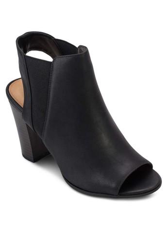 Caduwia 露趾木esprit分店製粗跟踝靴, 女鞋, 俏皮男孩風