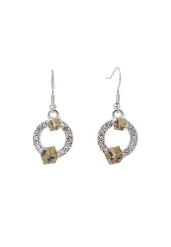 Jaysa Collection silver Palladium Summer Tan Crystal Cuboids Dangle Earrings JA875AC0FXPLSG_1