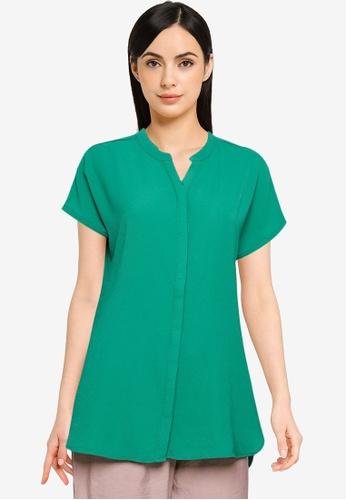 LC WAIKIKI green Runway Collar Short Sleeve Top BEAA1AA7DC4267GS_1