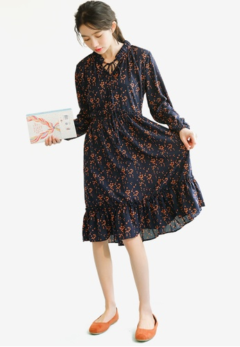 Shopsfashion blue Printed Fit And Flare Dress A6EA5AA16D5ADBGS_1