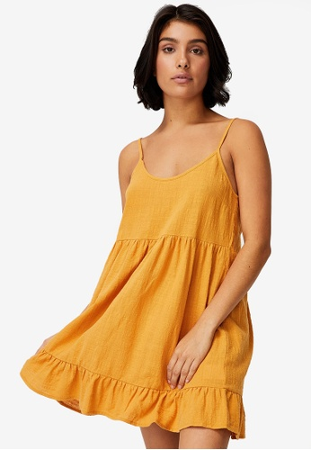 Cotton On yellow Woven Lucy Strappy Tiered Tunic 536A5AAB7C1C05GS_1