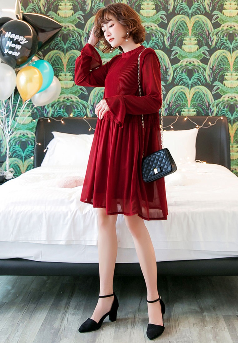 Dress Chiffon Pleated Pleated Pleated Chiffon Tokichoi Dress Tokichoi Pleated Dress Tokichoi Red Red Red Chiffon 7xqw4wAS
