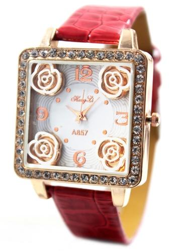 World of Watches red Hong Li Aurora Leather Stoned Watch A857 WO566AC21JGOPH_1