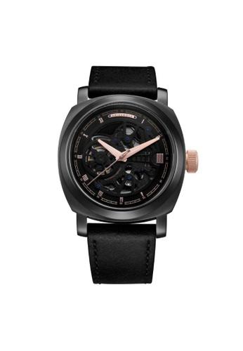 Aries Gold black Aries Gold Vanguard G 9025 BKRG-BKRG Black Leather Watch 3357FACC1A1E6BGS_1