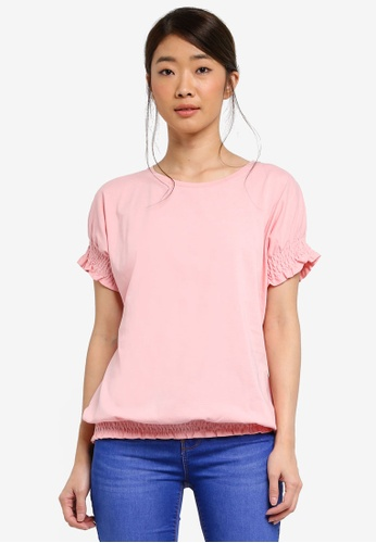 Dorothy Perkins pink Pink Ruched Cuff And Hem T-Shirt 0E6A6AAD81458EGS_1