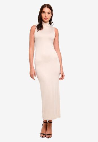 Zalia beige Basic High Neck Sleeveless Inner Dress D716FAA1533F95GS_1