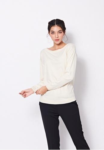 Sisley white Boat-neck Sweater 4B090AAB6B6A57GS_1