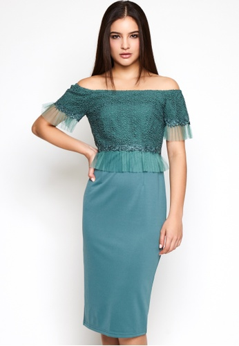 Nichii green Off Shoulder Lace Dress with Netting 79442AABCB24F9GS_1