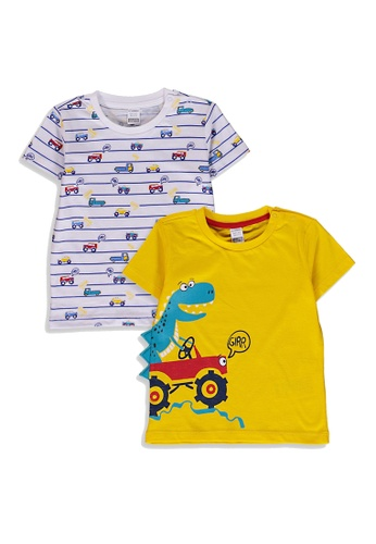 LC Waikiki yellow 2-Pack Baby Boy's Printed T-Shirt 1C5E5KAF1AC42BGS_1