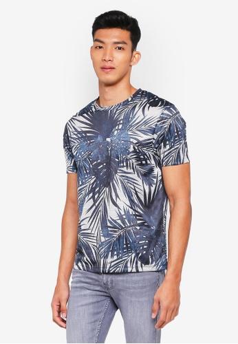 Burton Menswear London grey Grey Texture Plant Print T-Shirt D33A2AAC4121FFGS_1