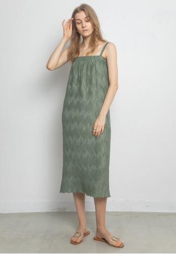 TAV 設計感折褶吊帶連衣裙 - 卡其色 ACDEFAA89ECB22GS_1