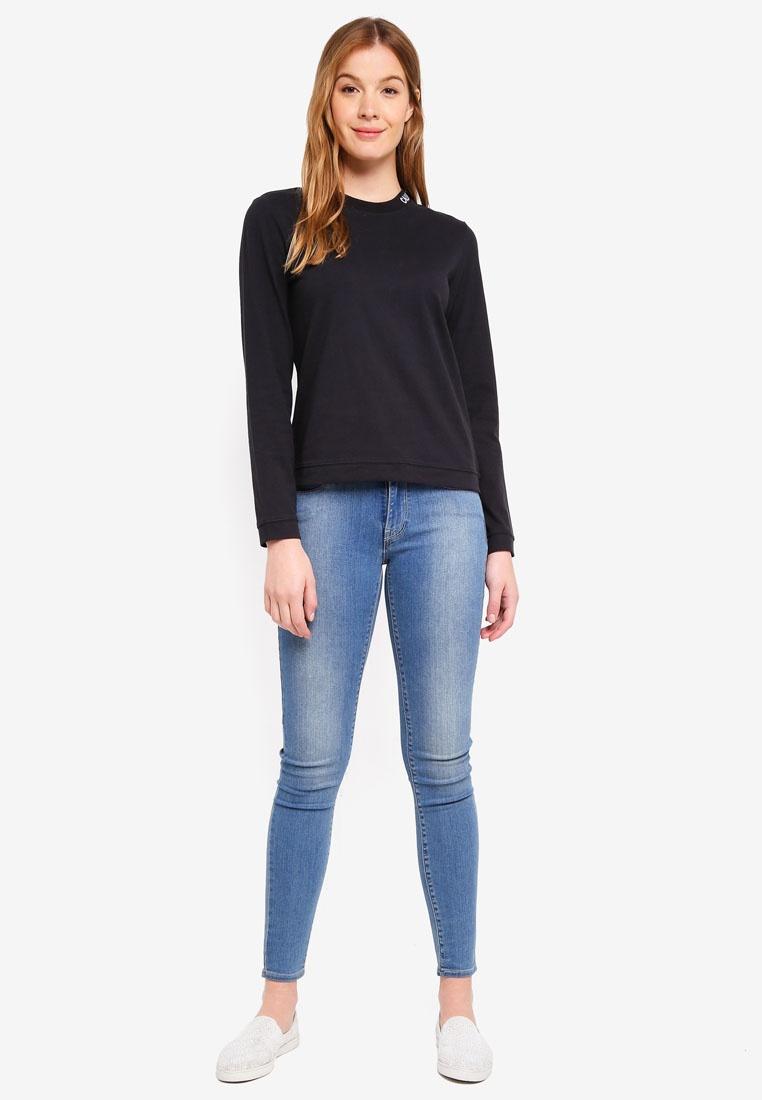 Klein Jeans Logo Embroidered Sleeve Klein Black Long Calvin CK Calvin T Shirt dwOgqdT