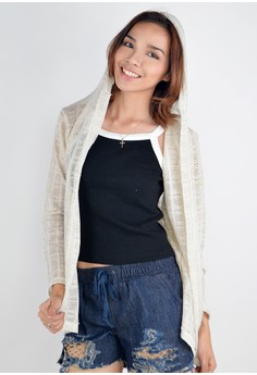 Knitted Cardigan with Hood Grid